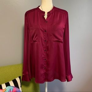 Halogen Nordstrom Magenta Button Down Top NWT D4